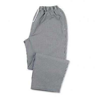 Chefs Gingham Elasticated Waist Trousers  In Black / White