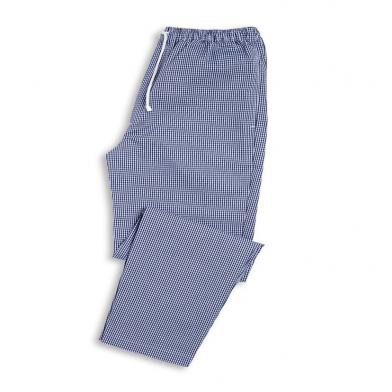 Chefs Gingham Elasticated Waist Trousers  In Blue / White