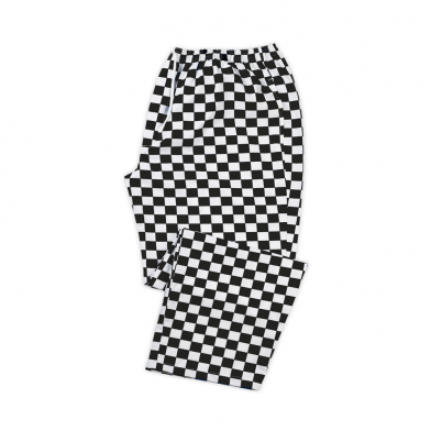 Chefs Check Elasticated Waist Trousers  In Black / White