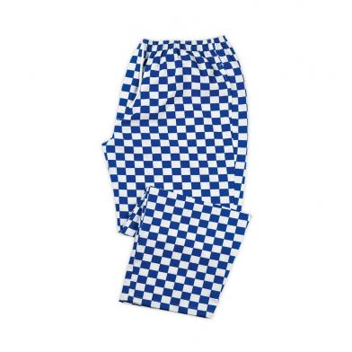 Chefs Check Elasticated Waist Trousers  In Royal Blue / White