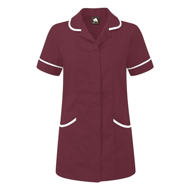 Florence Classic Healthcare Tunic  In Maroon/White Trim