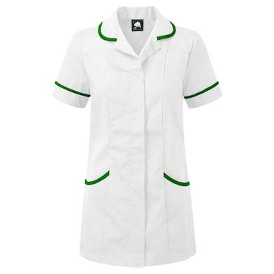 Florence Classic Healthcare Tunic  In White/Bottle Green