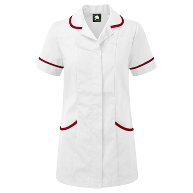 Florence Classic Healthcare Tunic  In White/Maroon