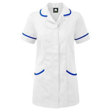Florence Classic Healthcare Tunic  In White/Royal Blue