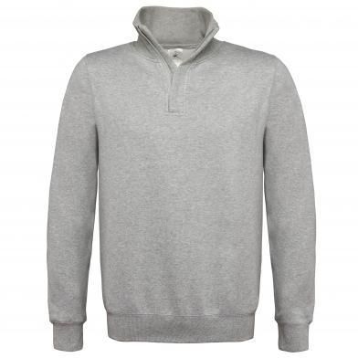 B&C ID.004 � Zip Sweatshirt In Heather Grey