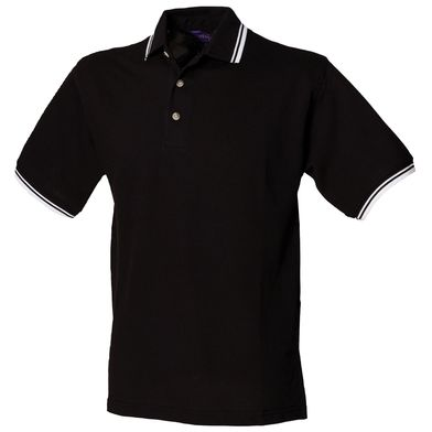 Double Tipped Collar And Cuff Polo Shirt In Black White tipping