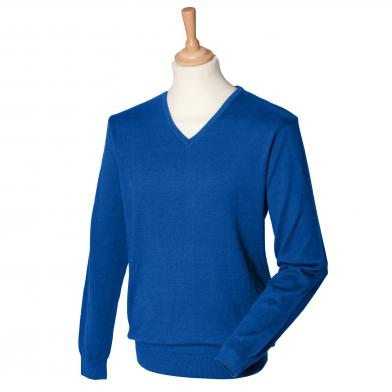 12 Gauge V-neck Jumper In Royal