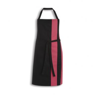 Contrast Bib Apron  In Black / Bright Pink