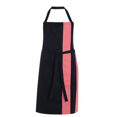 Contrast Bib Apron  In Black / Flamingo