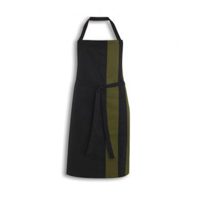 Contrast Bib Apron  In Black/Olive