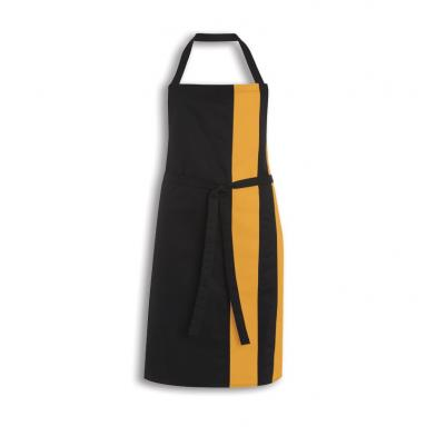 Contrast Bib Apron  In Black / Orange