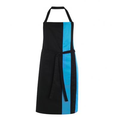 Contrast Bib Apron  In Black / Peacock