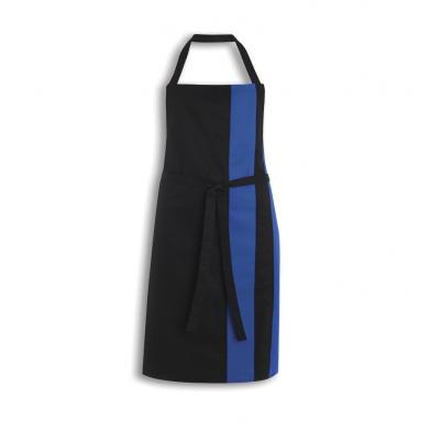 Contrast Bib Apron  In Black / Royal Blue