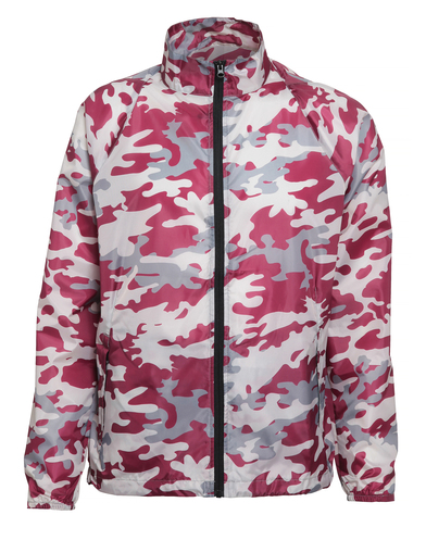 Contrast Lightweight Jacket In Bold Camo Burgundy