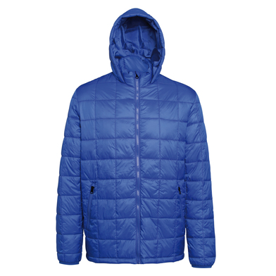 Box Quilt Hooded Jacket In Royal