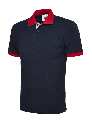 Contrast Polo Shirt  In Navy / Red