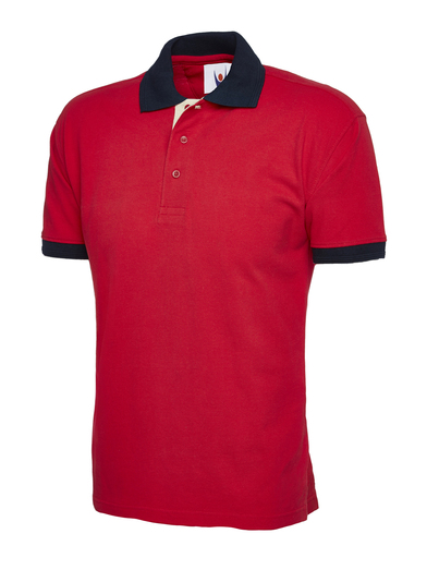 Contrast Polo Shirt  In Red / Navy