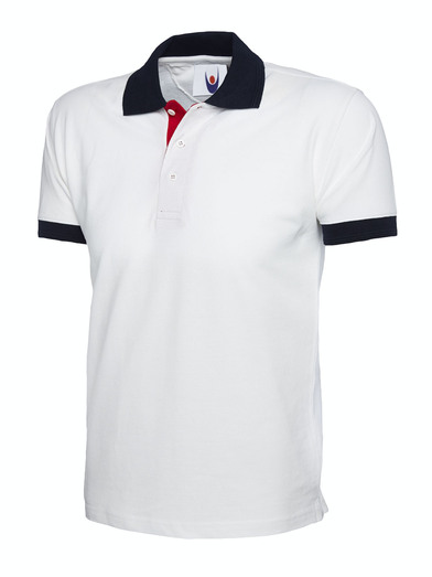 Contrast Polo Shirt  In White / Navy