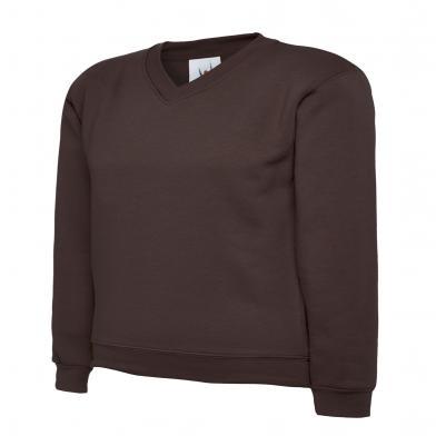Childrens V-Neck Sweatshirt  In Brown