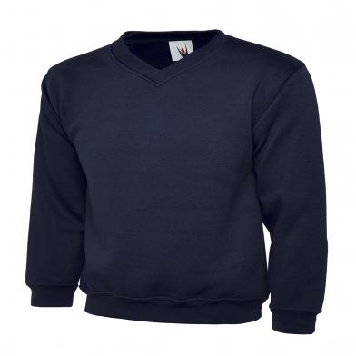 Childrens V-Neck Sweatshirt  In Navy