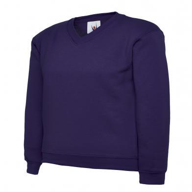 Childrens V-Neck Sweatshirt  In Purple
