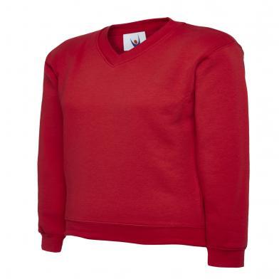 Childrens V-Neck Sweatshirt  In Red