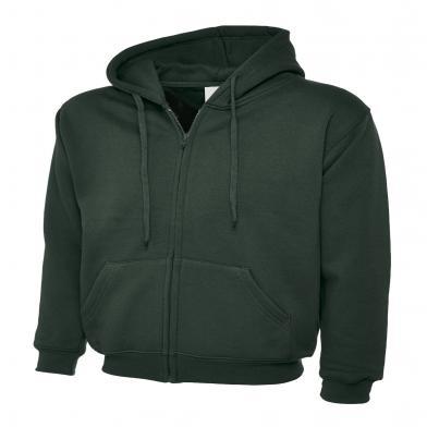 Classic Full Zip Hooded Sweatshirt  In Bottle Green