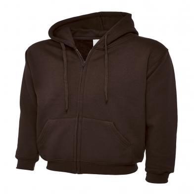 Classic Full Zip Hooded Sweatshirt  In Brown