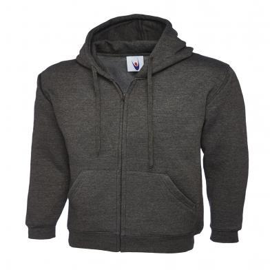 Classic Full Zip Hooded Sweatshirt  In Charcoal