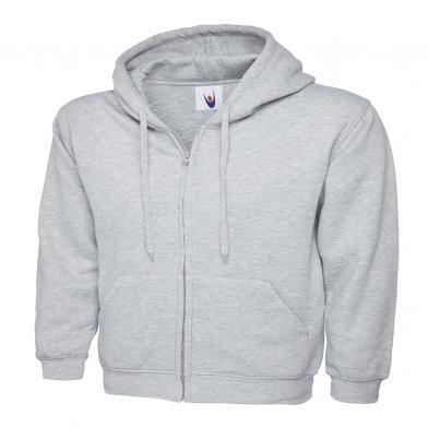 Classic Full Zip Hooded Sweatshirt  In Heather Grey