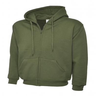 Classic Full Zip Hooded Sweatshirt  In Olive