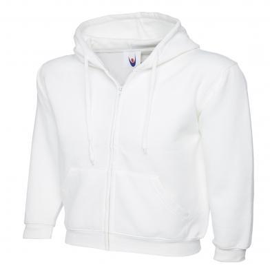Classic Full Zip Hooded Sweatshirt  In White