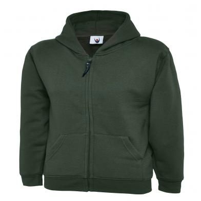 Childrens Classic Full Zip Hooded Sweatshirt  In Bottle Green