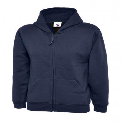 Childrens Classic Full Zip Hooded Sweatshirt  In Navy