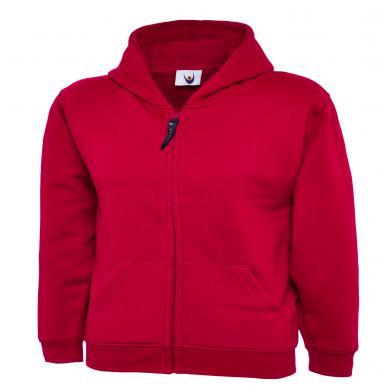 Childrens Classic Full Zip Hooded Sweatshirt  In Red