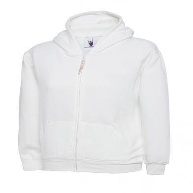 Childrens Classic Full Zip Hooded Sweatshirt  In White