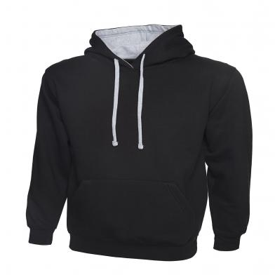 Contrast Hooded Sweatshirt  In Black / Heather Grey