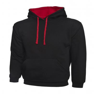 Contrast Hooded Sweatshirt  In Black / Red