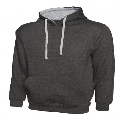 Contrast Hooded Sweatshirt  In Charcoal / Heather Grey