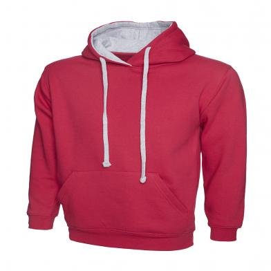Contrast Hooded Sweatshirt  In Fuchsia / Heather Grey