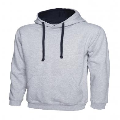 Contrast Hooded Sweatshirt  In Heather Grey / Navy