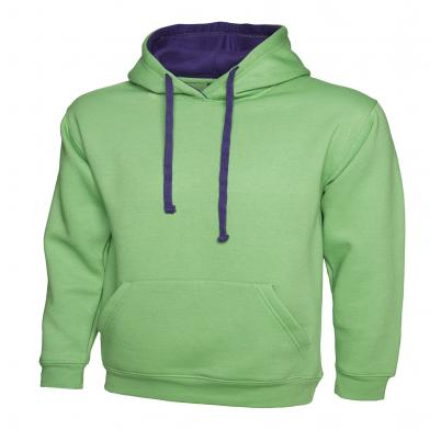 Contrast Hooded Sweatshirt  In Lime / Purple