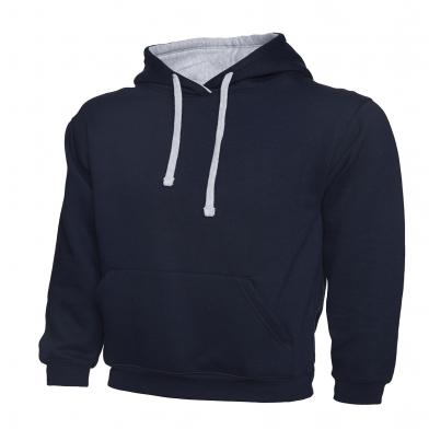 Contrast Hooded Sweatshirt  In Navy / Heather Grey