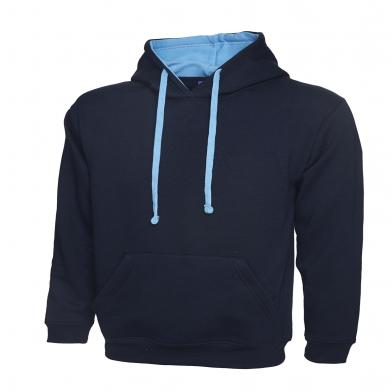 Contrast Hooded Sweatshirt  In Navy / Sky Blue