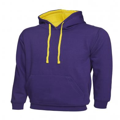 Contrast Hooded Sweatshirt  In Purple / Yellow