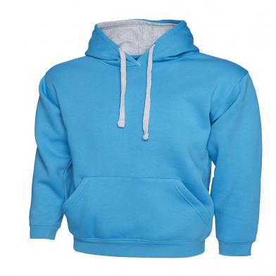 Contrast Hooded Sweatshirt  In Sapphire Blue/  Heather Grey*
