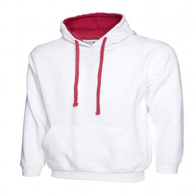 Contrast Hooded Sweatshirt  In White / Fuchsia