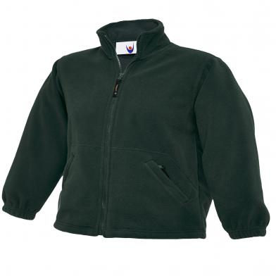 Childrens Full Zip Micro Fleece Jacket  In Bottle Green