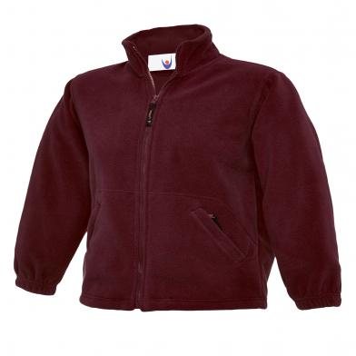 Childrens Full Zip Micro Fleece Jacket  In Maroon