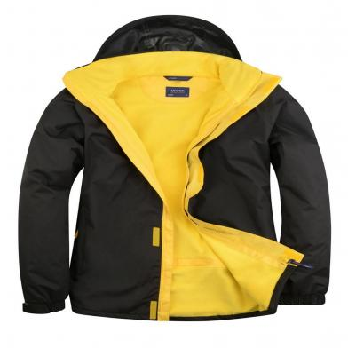 Deluxe Outdoor Jacket  In Black / Submarine Yellow